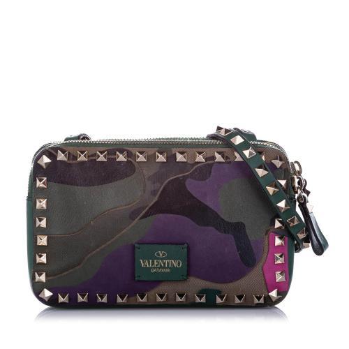 Valentino Rockstud Camouflage Leather Crossbody Bag