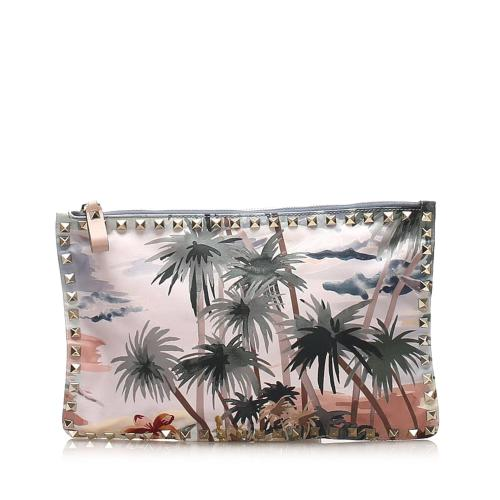 Valentino Rockstud Canvas Clutch Bag