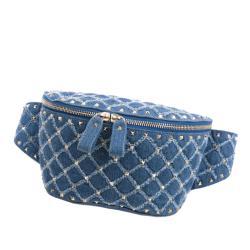 Valentino Denim Rockstud Belt Bag
