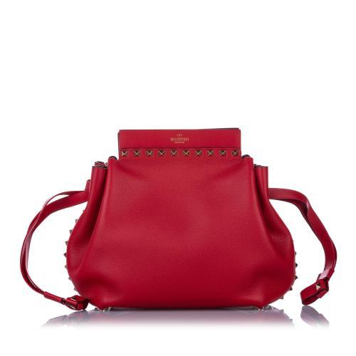 Valentino Leather Rockstud Drawstring Crossbody Bag