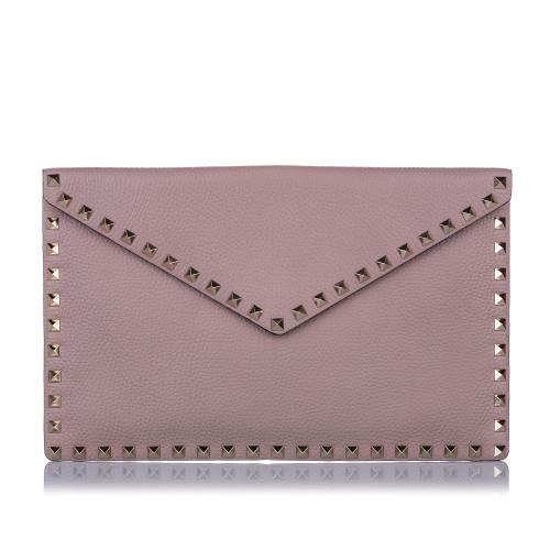 Valentino Leather Rockstud Flat Envelope Clutch
