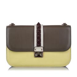 Valentino Rockstud Glam Lock Leather Crossbody Bag