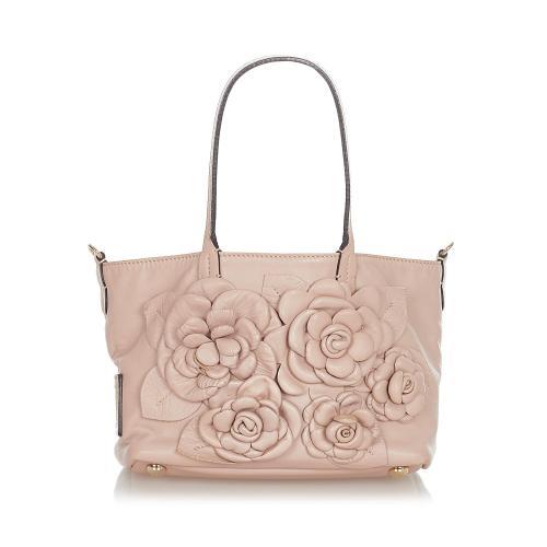 Valentino Rosette Leather Satchel