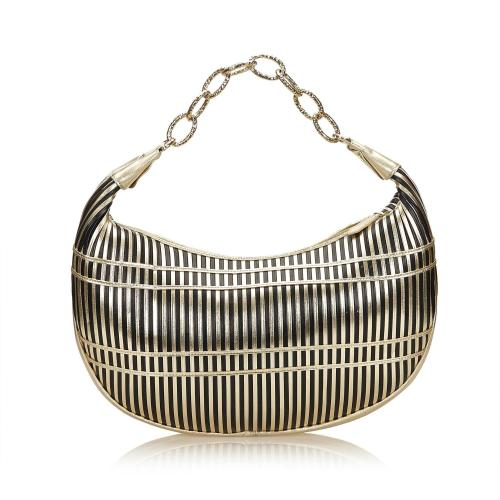 Valentino Striped Leather Chain Baguette Shoulder Bag