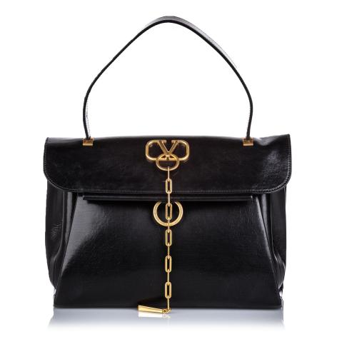 Valentino Leather V-Chain Tote