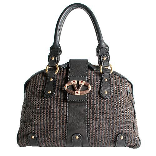 Valentino V Woven Leather Satchel Handbag