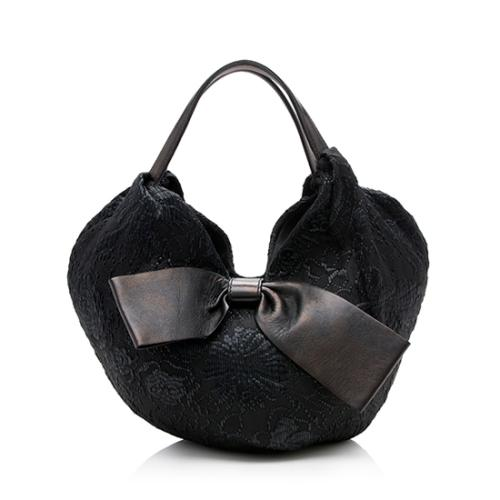 Valentino Woven Raffia Leather 360 Bow Hobo - FINAL SALE