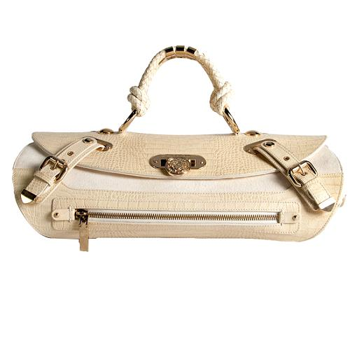 Versace Canyon Medium Croc Satchel Handbag