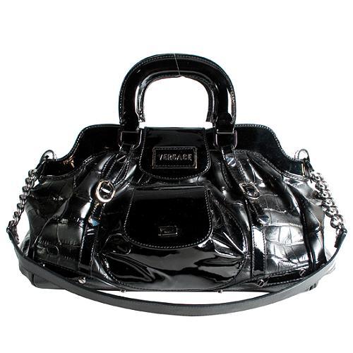 Versace Crocodile Embossed Small Satchel Handbag