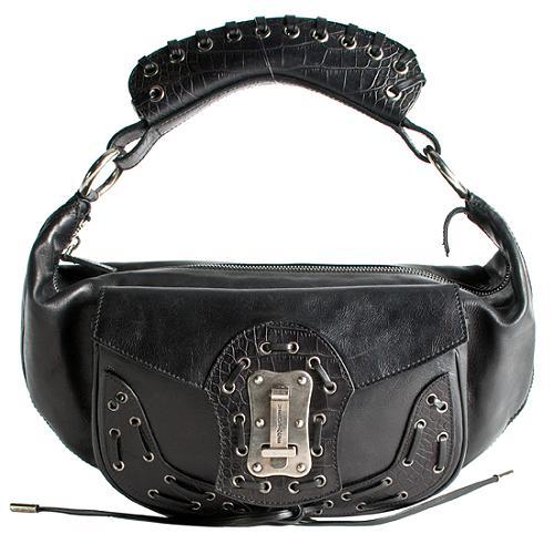 Versace Crocodile Lace Shoulder Handbag