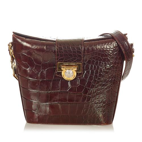 Versace Embossed Leather Crossbody Bag
