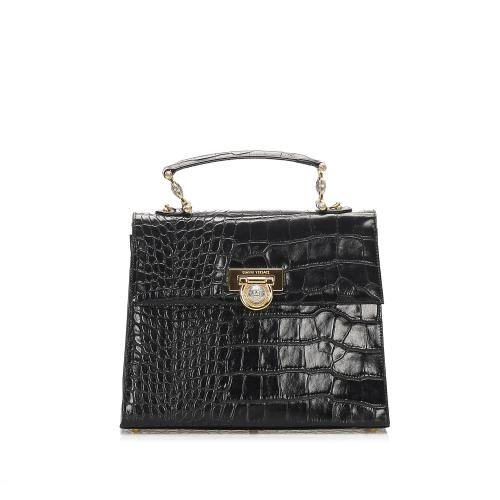 Versace Embossed Leather Satchel