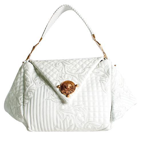 Versace Lana DOro Embroidered Satchel Handbag