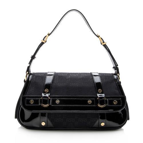 Versace Logo Jacquard Shoulder Bag