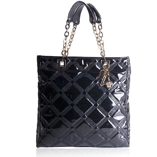 Versace Patent Chain Shoulder Handbag
