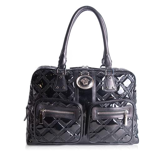 Versace Patent Leather Quilted Tote