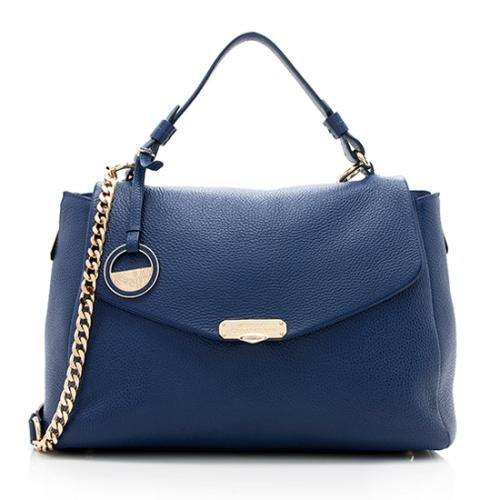 7b315792c2 Versace -Pebbled-Leather-Convertible-Top-Handle-Large-Satchel 99474 front large 0.jpg