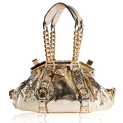 Versace Python Framed Satchel Handbag