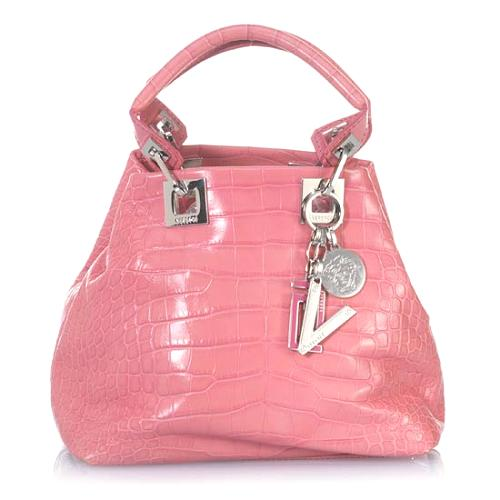 Versace Small Leather Embossed Tote