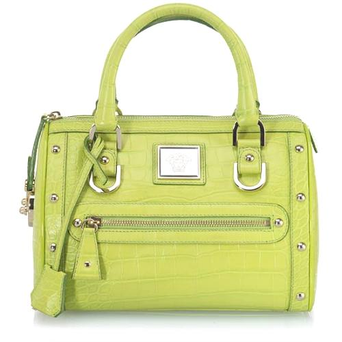 Versace Small Madonna Leather Embossed Satchel Handbag