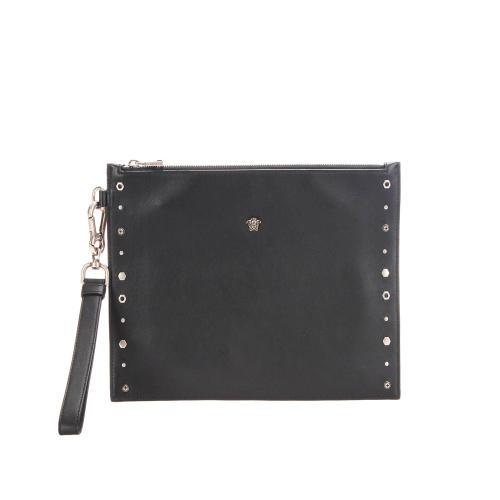 Versace Leather Studded Medusa Clutch