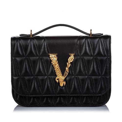 Versace Quilted Leather Virtus Shoulder Bag