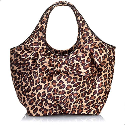 kate spade Large Tate Beauville Nylon Leopard Bow Tote