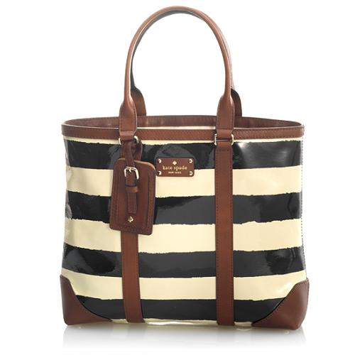 kate spade New York Dama Striped Patent Leather Tote