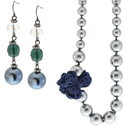 A.B.S. by Allen Schwartz Code Blue Earrings & Flower Station Necklace