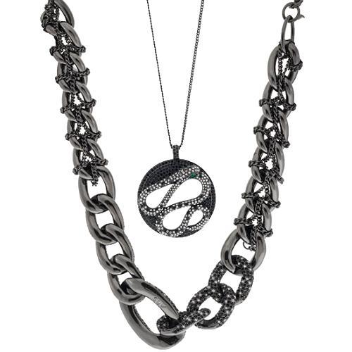 A.B.S. by Allen Schwartz Hard Rock Gunmetal Layering Necklaces