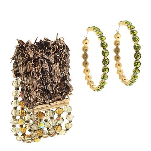 A.B.S. by Allen Schwartz Sahara Hoop Earrings & Beaded Bracelet