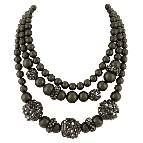 Alexis Bittar Black Cage Shell Pearl Necklace