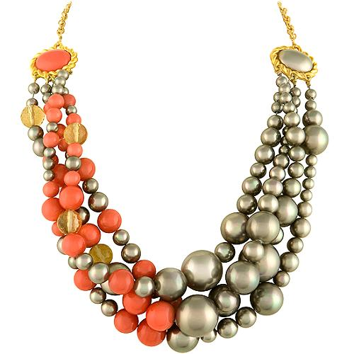 Alexis Bittar Coral & Pearl Necklace