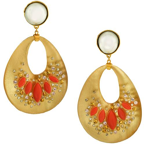 Alexis Bittar Extra Large Montauk Coral Purse Earrings