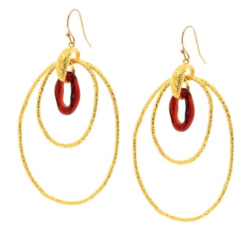 Alexis Bittar Floating Links Gold Interlocked Garnet Glass Earring