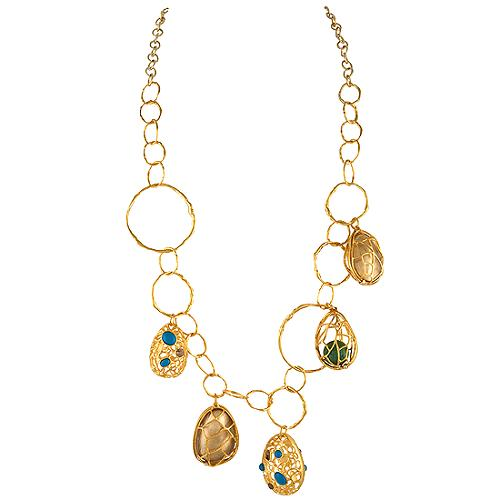 Alexis Bittar Large Gold Cage Charm Link Necklace
