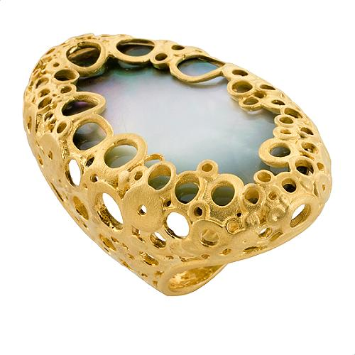 Alexis Bittar Large Gold Gray MOP Oval Klimt Ring