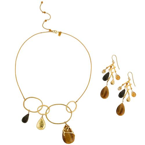 Alexis Bittar Link Charm Necklace & Earring Set