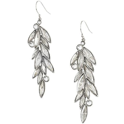 Alexis Bittar Long Rhodium Hermitage Crystal Earrings