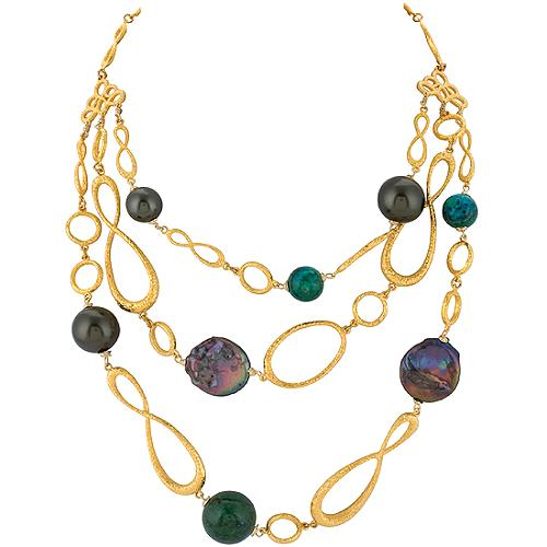 Alexis Bittar Pearl Simulated 3 Strand Necklace