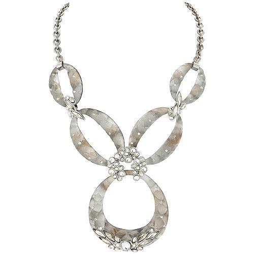 Alexis Bittar Rhodium Hermitage Crystal Link Necklace