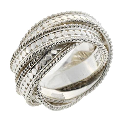 Anna Beck Silver Twist Ring - Size 7