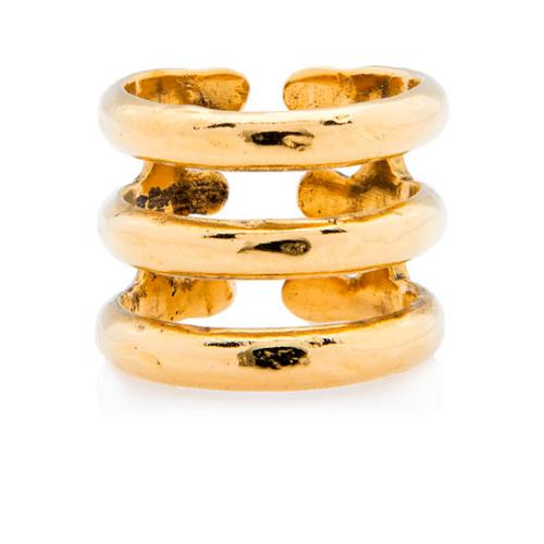 Aurelie Bidermann Gold Plated Brass 3-Row Ring - Size 7