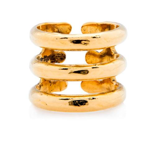 Aurelie Bidermann Gold-Plated Esteban 3-Row Ring - Size EU 56 / US 7 1/2