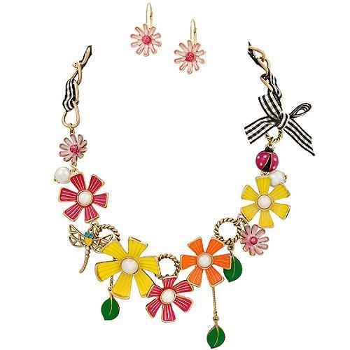 Betsey Johnson Flower Girl Necklace & Earrings