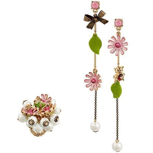 Betsey Johnson Flower Girl Ring & Earrings