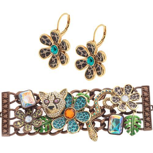 Betsey Johnson Jungle Fever Charm Bracelet & Daisy Drop Earrings