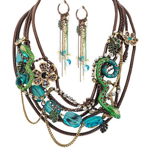 Betsey Johnson Jungle Fever Multi Strand Necklace & Earrings