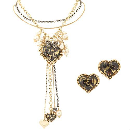 Betsey Johnson Leopard Heart Charm Y-Necklace & Heart Stud Earrings