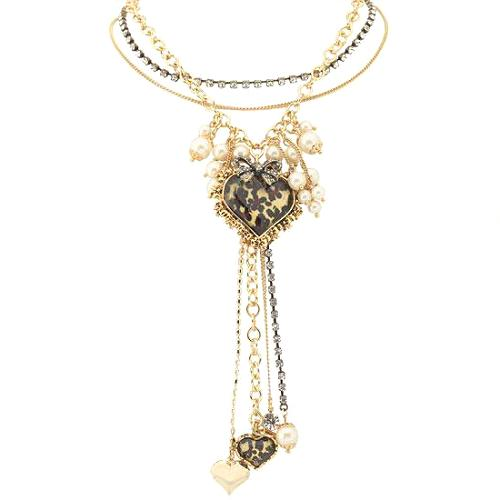 Betsey Johnson Leopard Heart Charm Y-Necklace